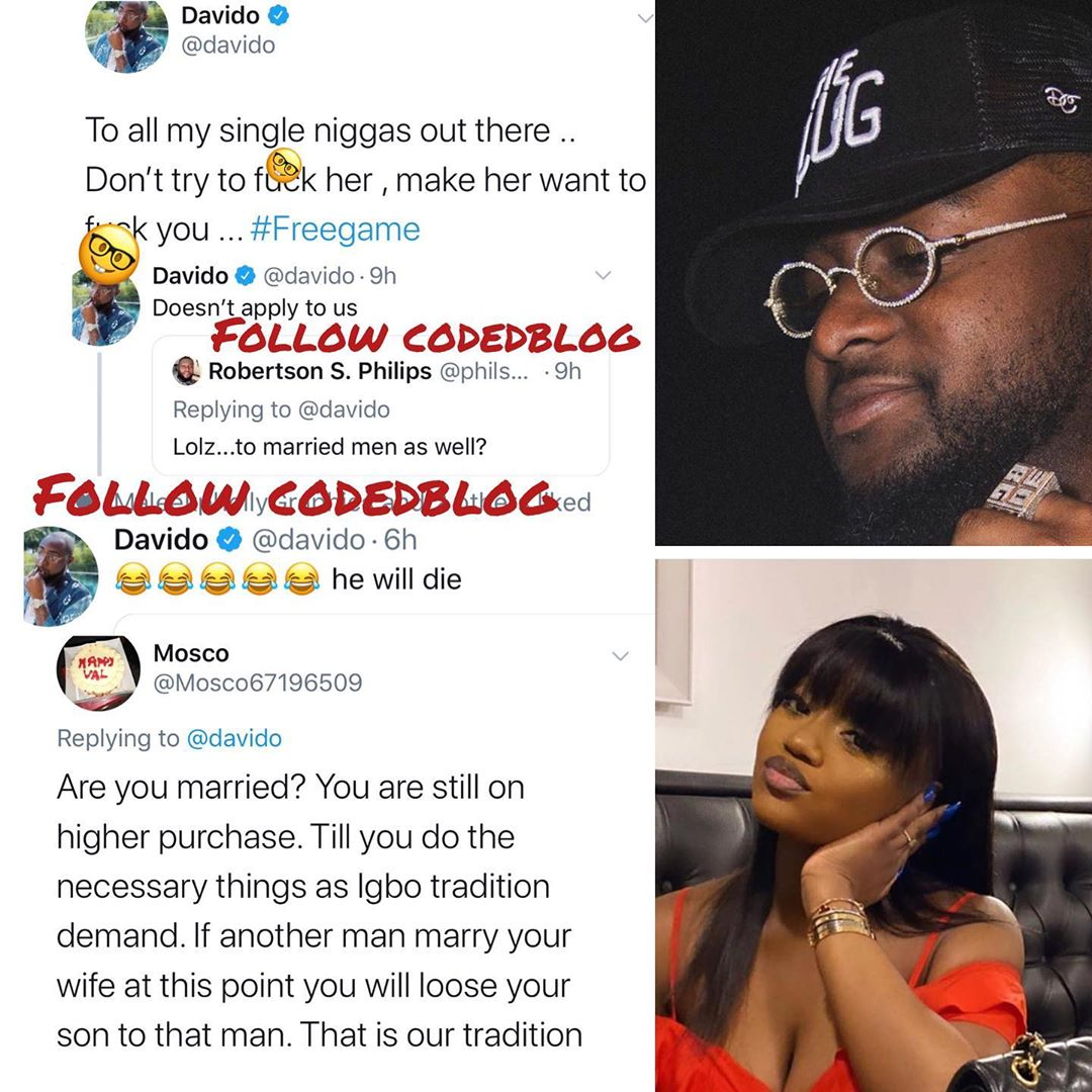 Davido Reacts As Fan Explains Igbo Tradition To Him, Says He Might Loose His Son
