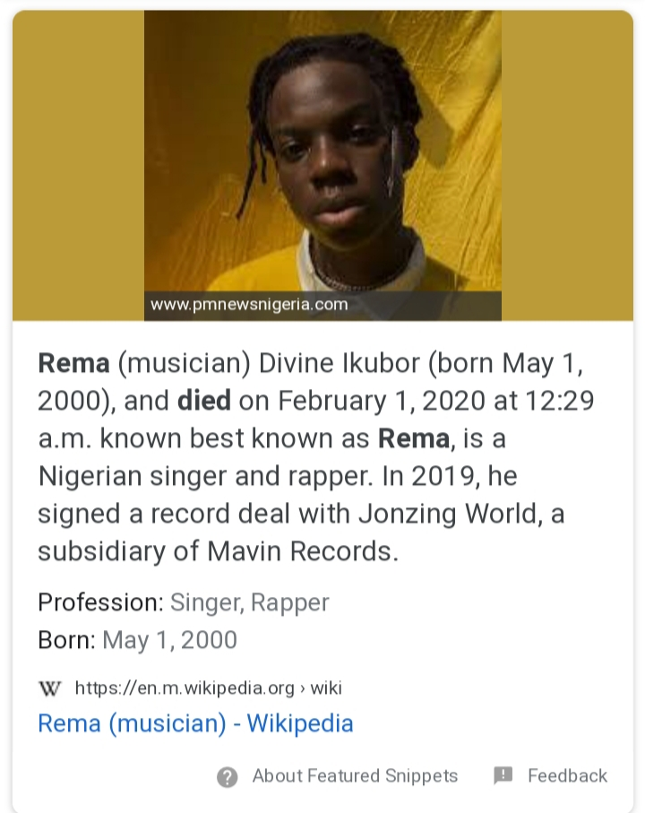 Is Rema Dead? Wikipedia Confirmed that Fast Rising Star, Rema is Now Dead (Photo & Video)