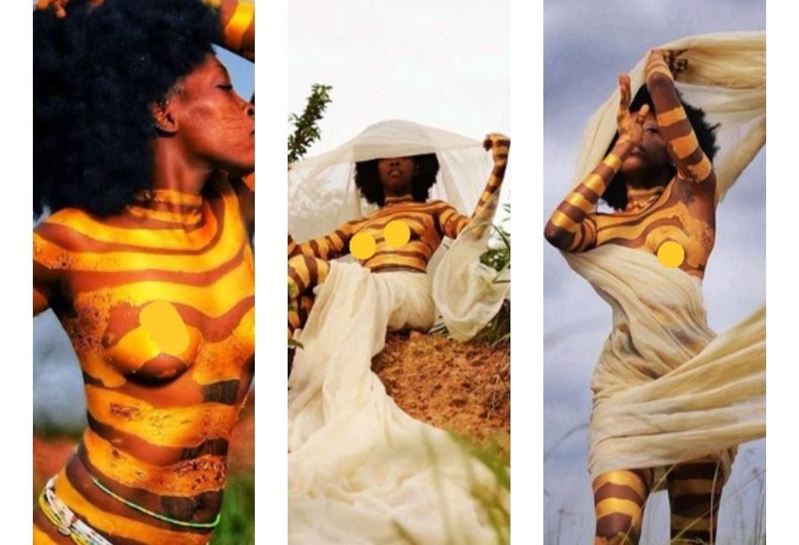 Model with tribal marks, Adetutu OJ, goes half-naked in